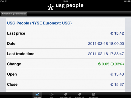 USG People investor news - ipad
