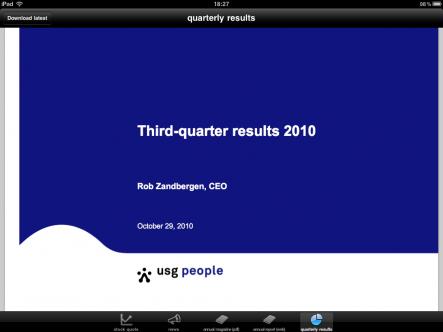 USG People investor news - ipad